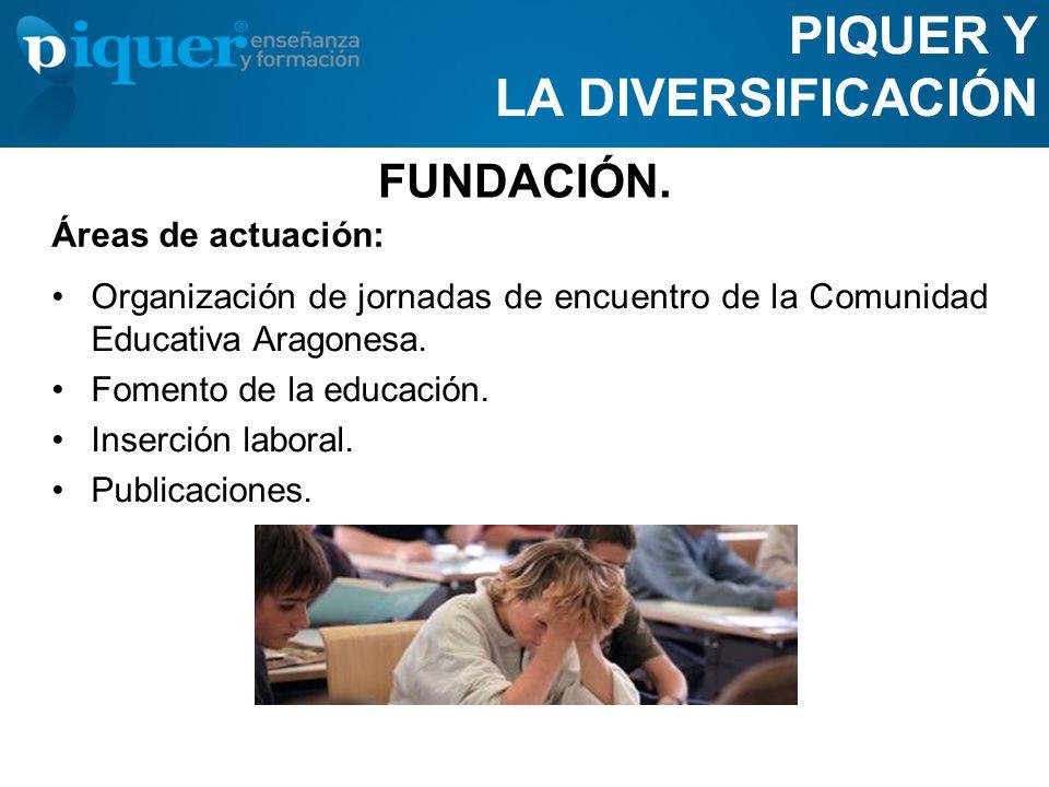 FUNDACIÓN. PIQUER Y LA DIVERSIFICACIÓN Organización de jornadas de encuentro de la Comunidad Educativa Aragonesa. Fomento de la educación. Inserción l