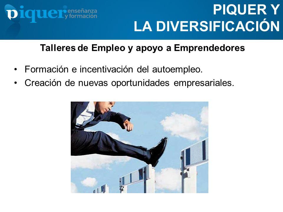PIQUER Y LA DIVERSIFICACIÓN Formación e incentivación del autoempleo. Creación de nuevas oportunidades empresariales. Talleres de Empleo y apoyo a Emp