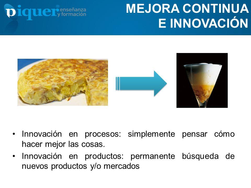 MEJORA CONTINUA E INNOVACIÓN Innovación en procesos: simplemente pensar cómo hacer mejor las cosas. Innovación en productos: permanente búsqueda de nu