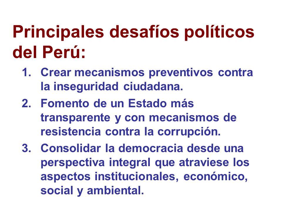 Principales desafíos políticos del Perú: 1.Crear mecanismos preventivos contra la inseguridad ciudadana.
