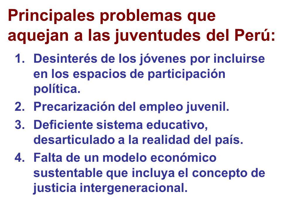 Principales problemas que aquejan a las juventudes del Perú: 1.Desinterés de los jóvenes por incluirse en los espacios de participación política.