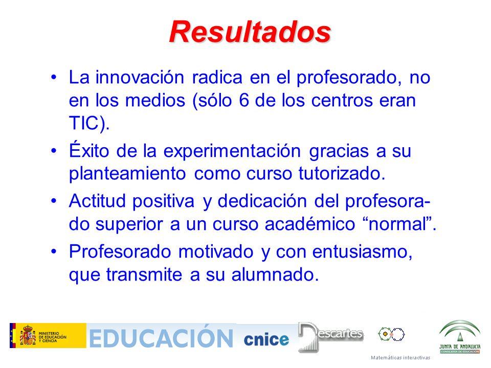 Resultados La innovación radica en el profesorado, no en los medios (sólo 6 de los centros eran TIC). Éxito de la experimentación gracias a su plantea