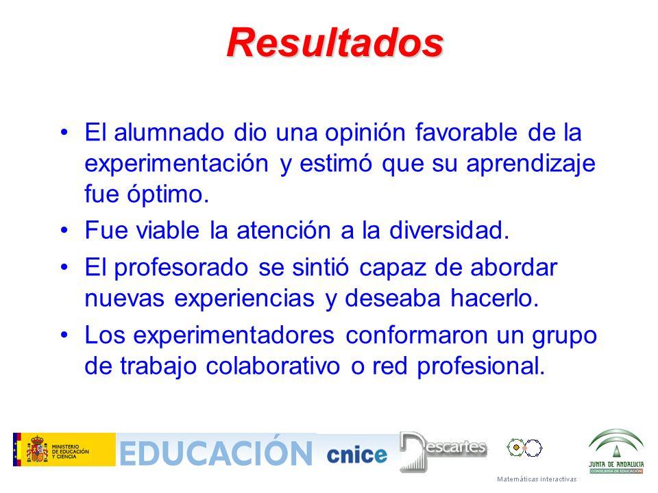 Resultados El alumnado dio una opinión favorable de la experimentación y estimó que su aprendizaje fue óptimo. Fue viable la atención a la diversidad.