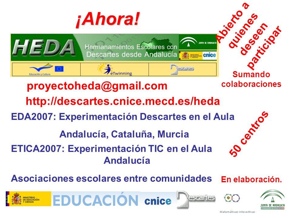 ¡Ahora! proyectoheda@gmail.com EDA2007: Experimentación Descartes en el Aula Andalucía, Cataluña, Murcia 50 centros ETICA2007: Experimentación TIC en
