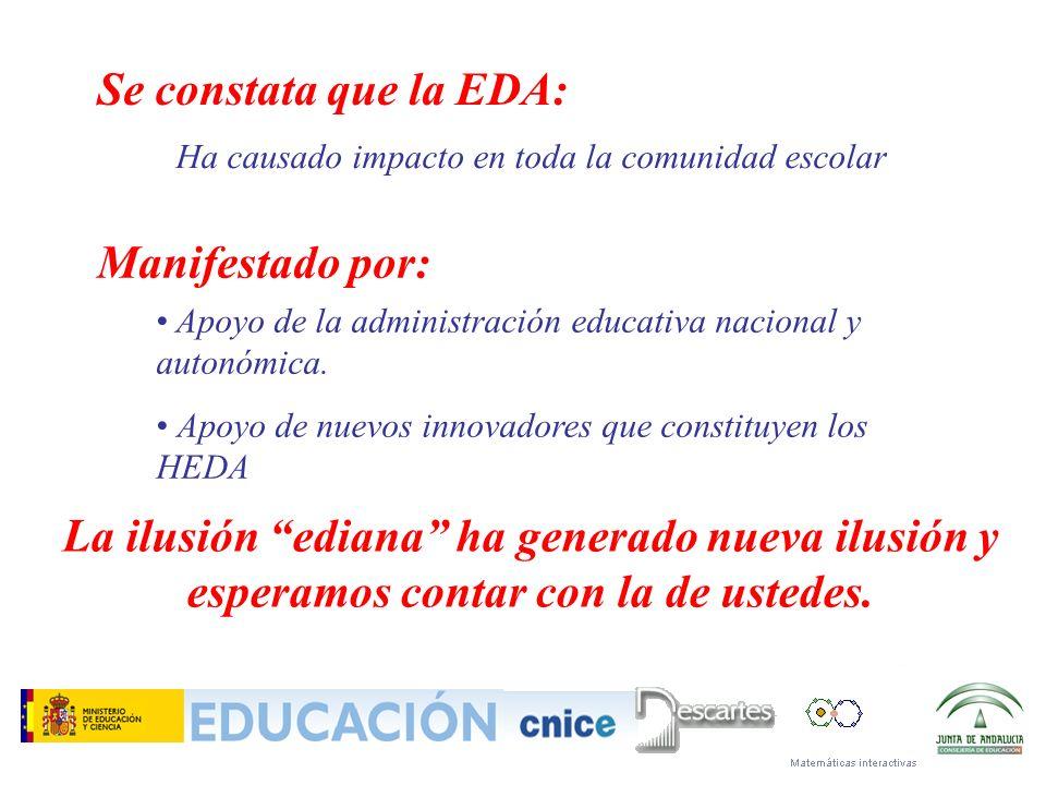 Ha causado impacto en toda la comunidad escolar Se constata que la EDA: Manifestado por: Apoyo de la administración educativa nacional y autonómica. A