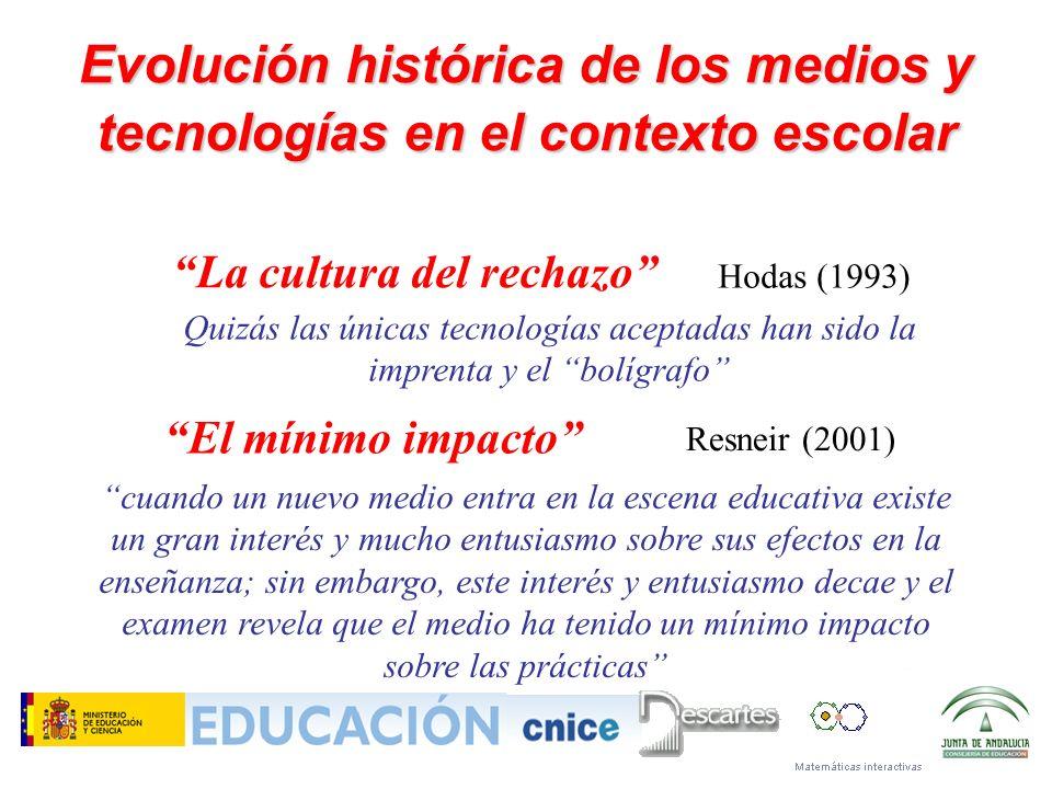 Evolución histórica de los medios y tecnologías en el contexto escolar cuando un nuevo medio entra en la escena educativa existe un gran interés y muc