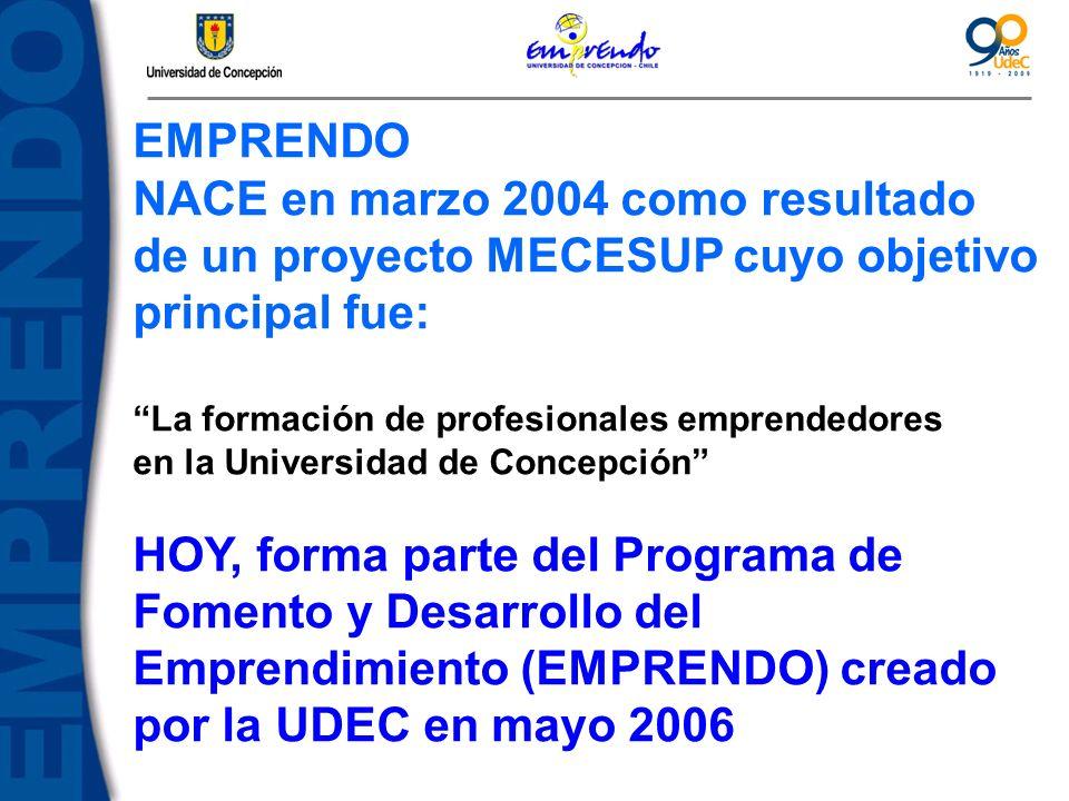EMPRENDO NACE en marzo 2004 como resultado de un proyecto MECESUP cuyo objetivo principal fue: La formación de profesionales emprendedores en la Unive