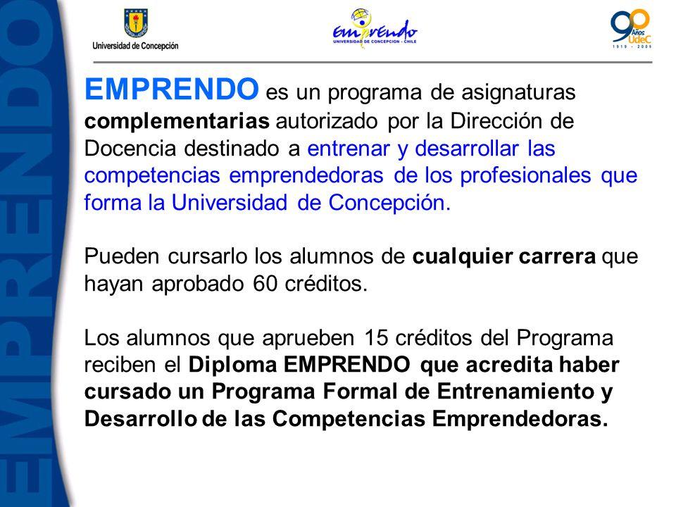 EMPRENDO es un programa de asignaturas complementarias autorizado por la Dirección de Docencia destinado a entrenar y desarrollar las competencias emp