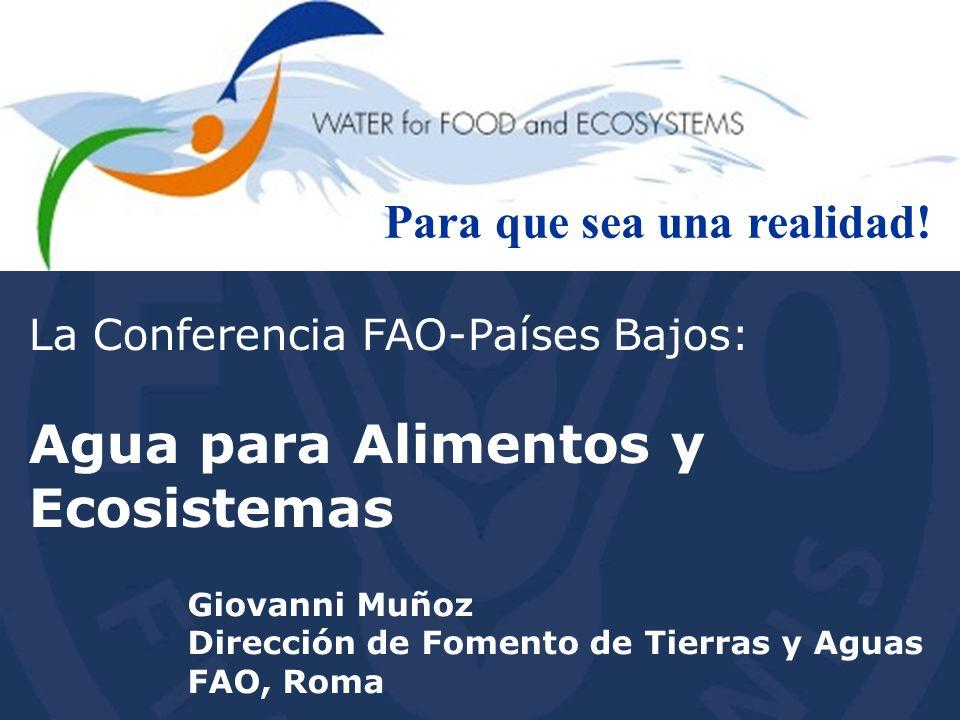 El futuro del agua para la alimentación y los ecosistemas Un enfoque de ecosistema para la agricultura Un enfoque de servicio productivo para los ecosistemas