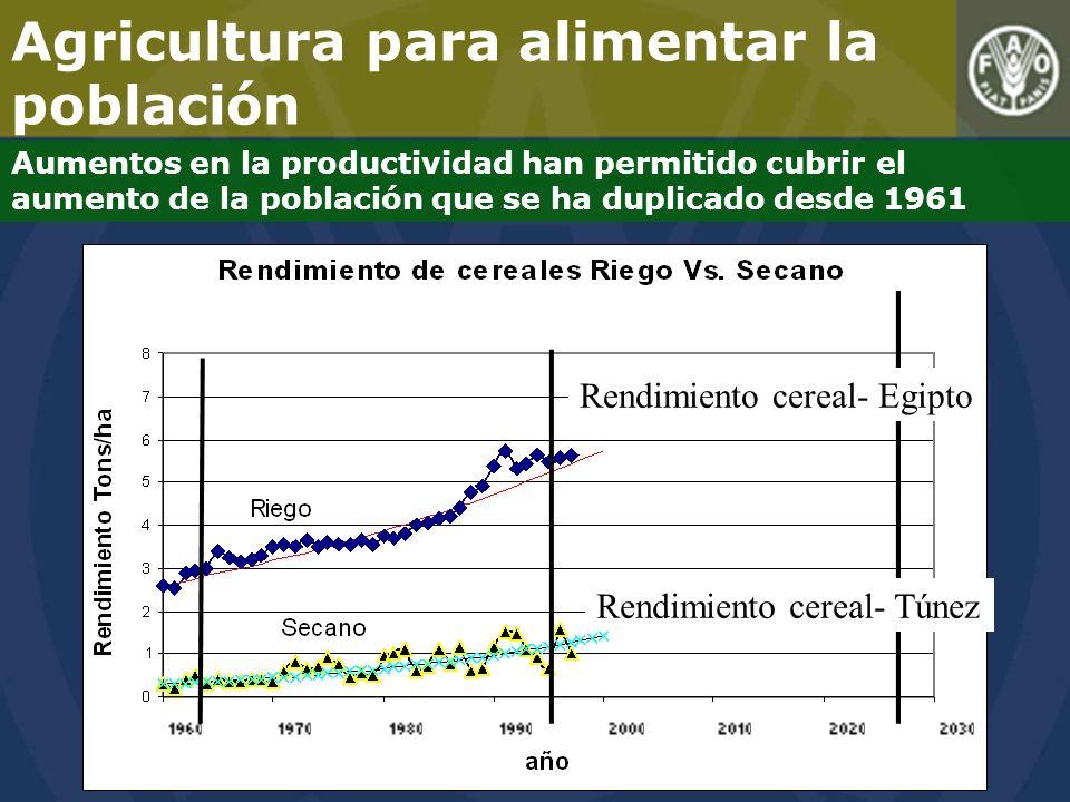 Agricultura para alimentar la población Aumentos en la productividad han permitido cubrir el aumento de la población que se ha duplicado desde 1961 Rendimiento cereal- Egipto Rendimiento cereal- Túnez