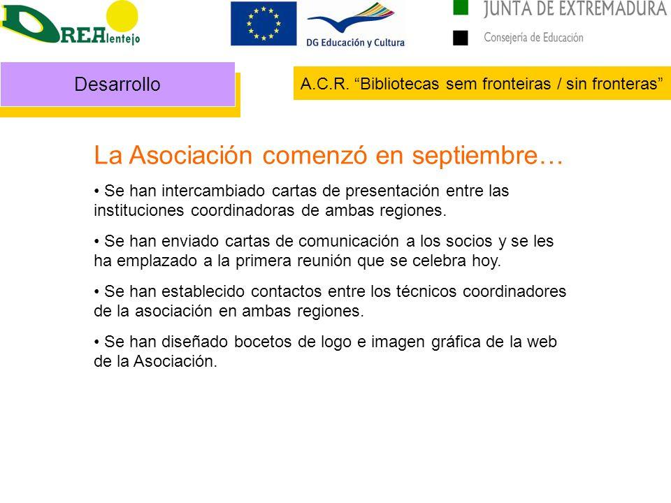 Desarrollo A.C.R. Bibliotecas sem fronteiras / sin fronteras La Asociación comenzó en septiembre… Se han intercambiado cartas de presentación entre la