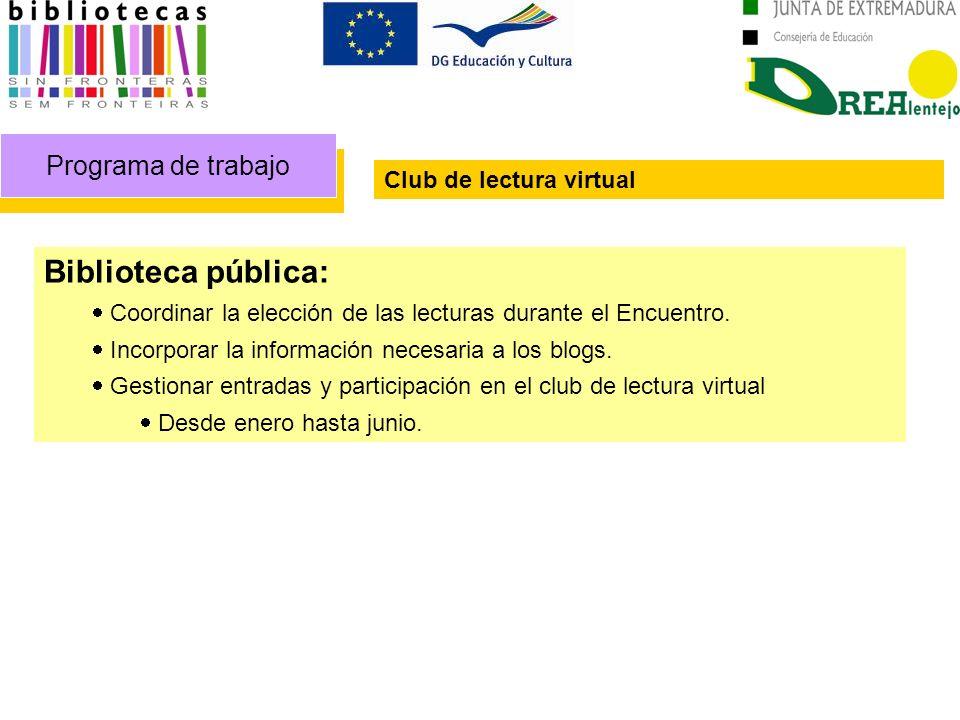 Programa de trabajo Club de lectura virtual Biblioteca pública: Coordinar la elección de las lecturas durante el Encuentro. Incorporar la información
