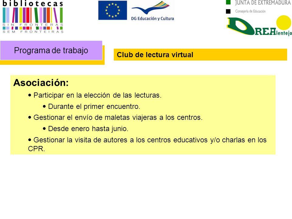 Programa de trabajo Club de lectura virtual Asociación: Participar en la elección de las lecturas. Durante el primer encuentro. Gestionar el envío de