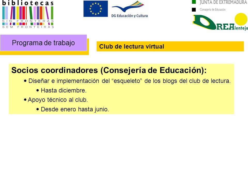 Programa de trabajo Club de lectura virtual Socios coordinadores (Consejería de Educación): Diseñar e implementación del esqueleto de los blogs del club de lectura.