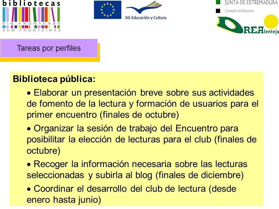 Tareas por perfiles Biblioteca pública: Elaborar un presentación breve sobre sus actividades de fomento de la lectura y formación de usuarios para el