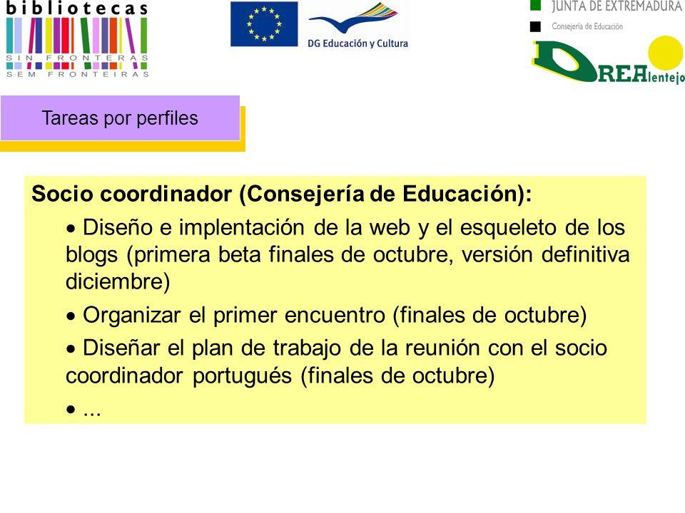 Tareas por perfiles Socio coordinador (Consejería de Educación): Diseño e implentación de la web y el esqueleto de los blogs (primera beta finales de