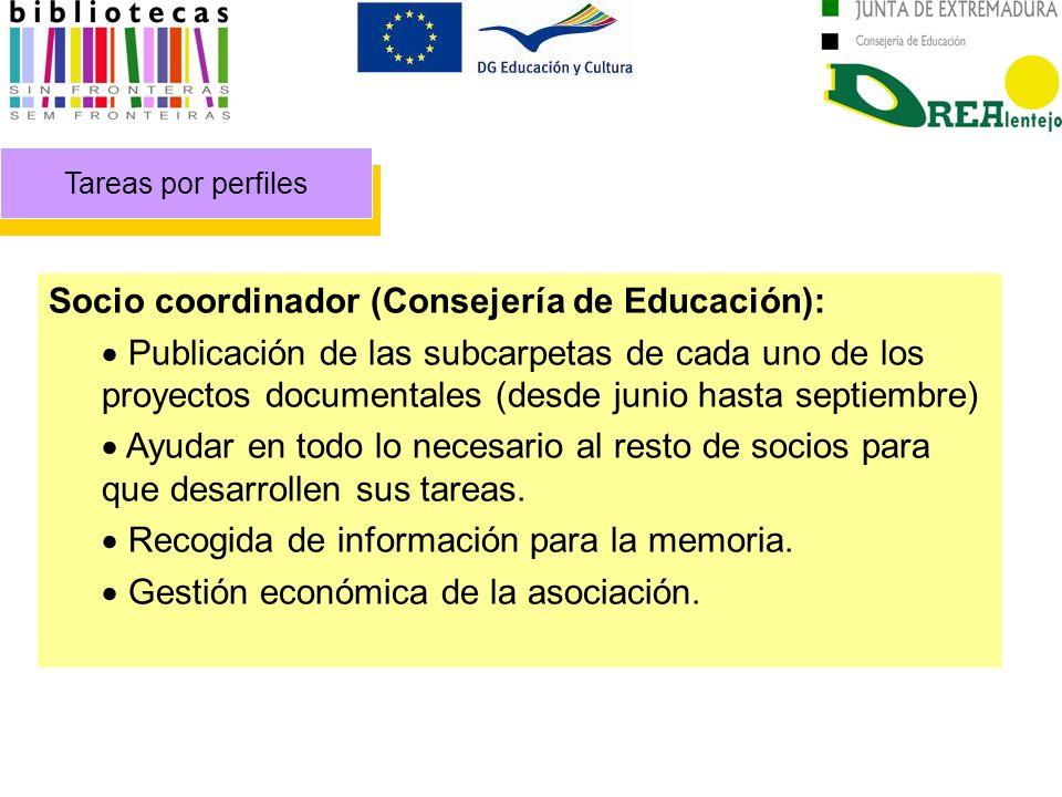 Tareas por perfiles Socio coordinador (Consejería de Educación): Publicación de las subcarpetas de cada uno de los proyectos documentales (desde junio