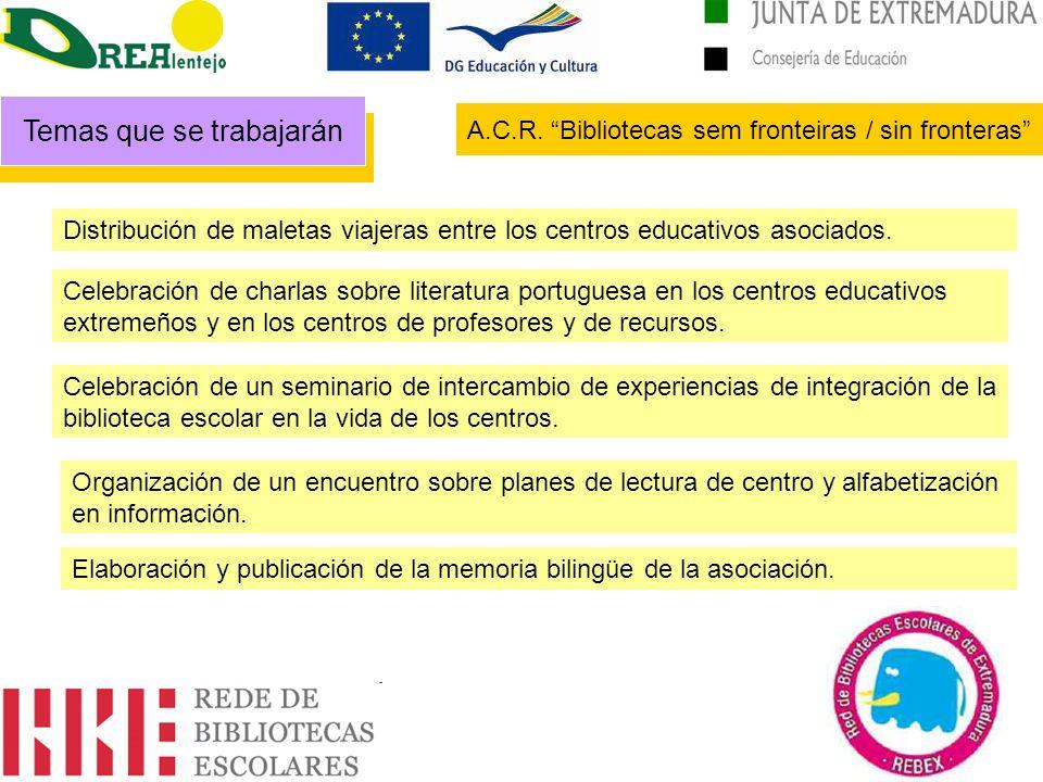 Distribución de maletas viajeras entre los centros educativos asociados. Celebración de charlas sobre literatura portuguesa en los centros educativos