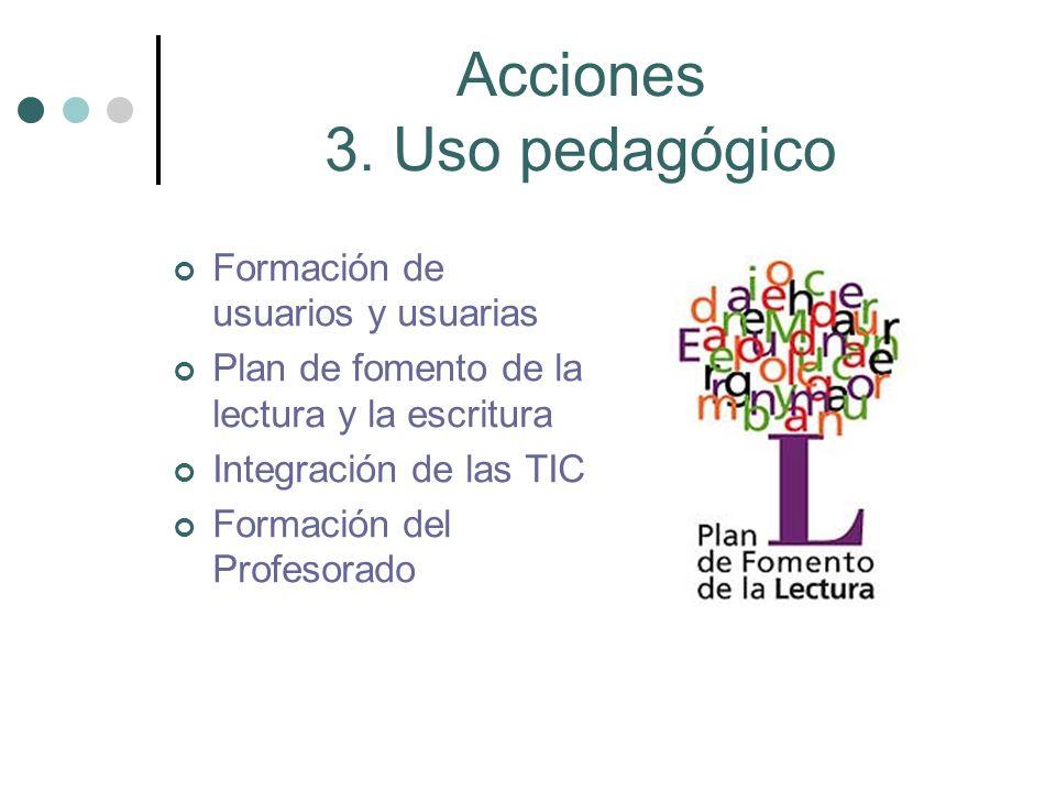 Acciones 3. Uso pedagógico Formación de usuarios y usuarias Plan de fomento de la lectura y la escritura Integración de las TIC Formación del Profesor
