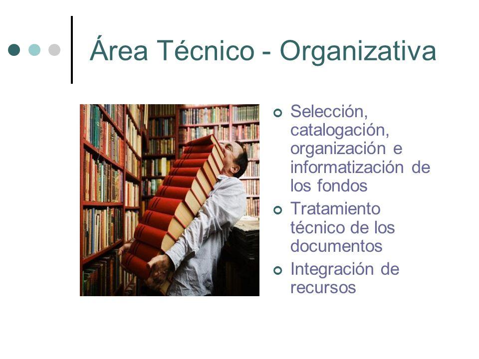 Área Técnico - Organizativa Selección, catalogación, organización e informatización de los fondos Tratamiento técnico de los documentos Integración de