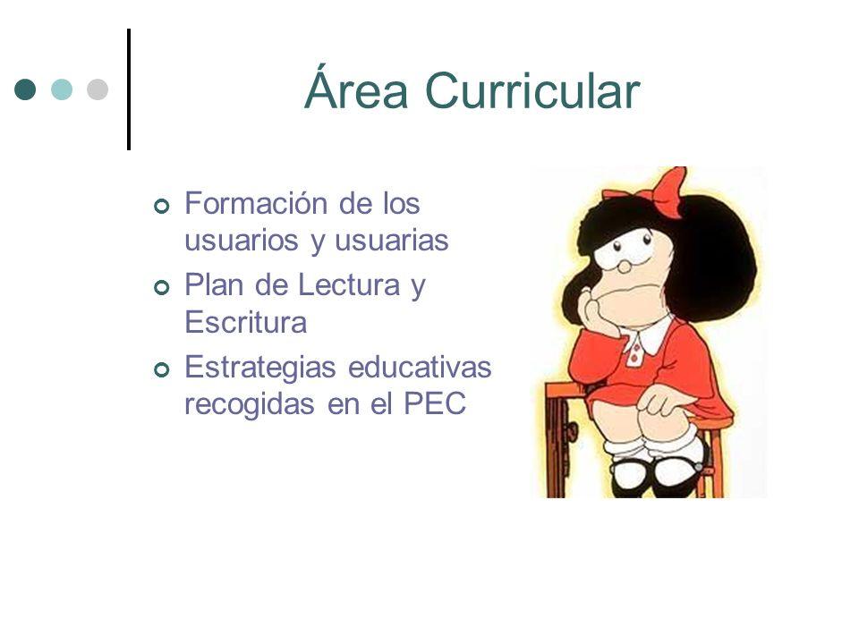 Área Curricular Formación de los usuarios y usuarias Plan de Lectura y Escritura Estrategias educativas recogidas en el PEC