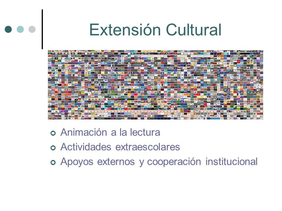 Extensión Cultural Animación a la lectura Actividades extraescolares Apoyos externos y cooperación institucional