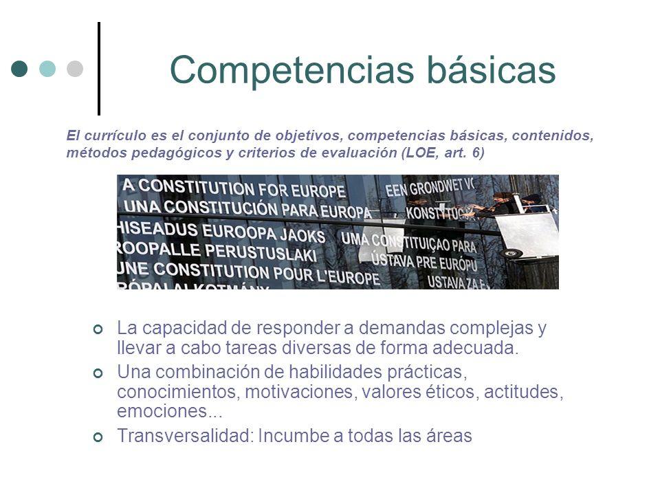 Ocho competencias 1 COMPETENCIA EN COMUNICACIÓN LINGÜÍSTICA 2 COMPETENCIA MATEMÁTICA 3 COMPETENCIA EN EL CONOCIMIENTO Y LA INTERACCIÓN CON EL MUNDO FÍSICO 4 TRATAMIENTO DE LA INFORMACIÓN Y COMPETENCIA DIGITAL 5 COMPETENCIA SOCIAL Y CIUDADANA 6 COMPETENCIA CULTURAL Y ARTÍSTICA 7 COMPETENCIA PARA APRENDER A APRENDER 8 AUTONOMÍA E INICIATIVA PERSONAL