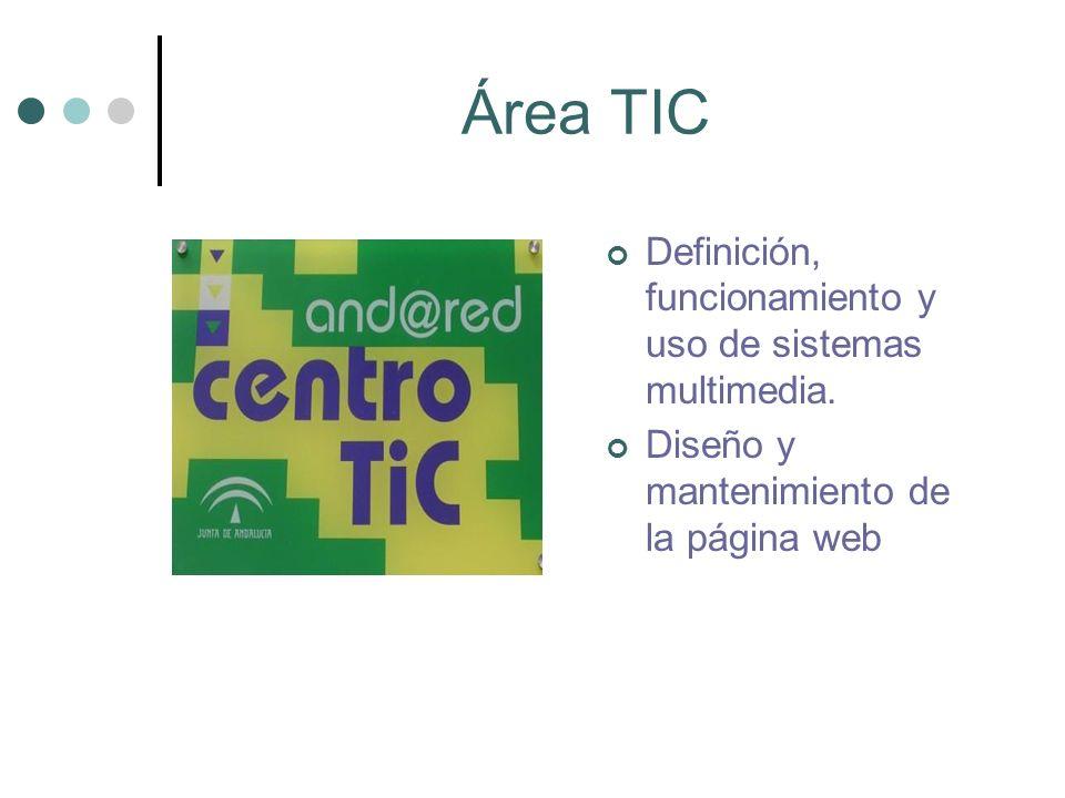 Área TIC Definición, funcionamiento y uso de sistemas multimedia. Diseño y mantenimiento de la página web
