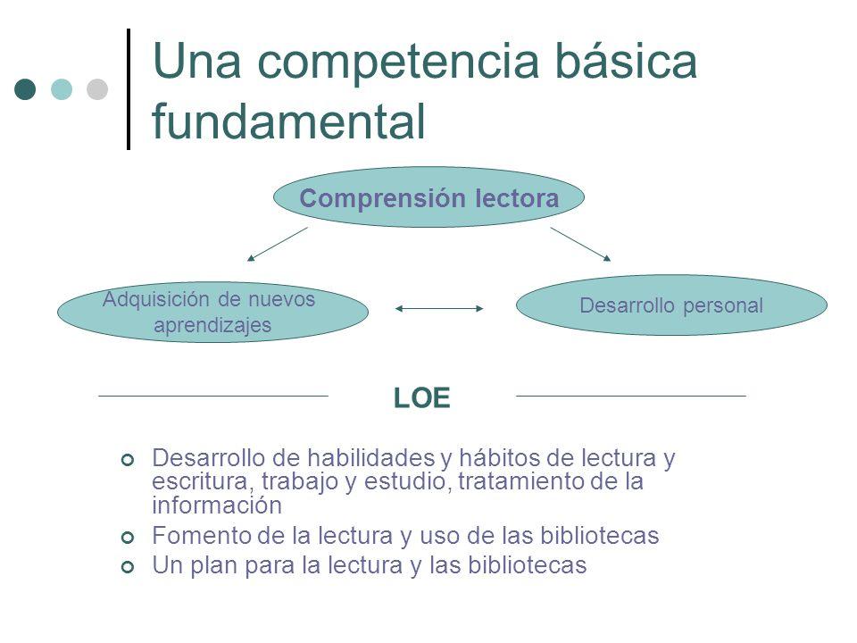 Una competencia básica fundamental Desarrollo de habilidades y hábitos de lectura y escritura, trabajo y estudio, tratamiento de la información Foment