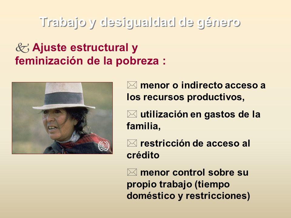 Trabajo y desigualdad de género Ajuste estructural y feminización de la pobreza : * menor o indirecto acceso a los recursos productivos, * utilización