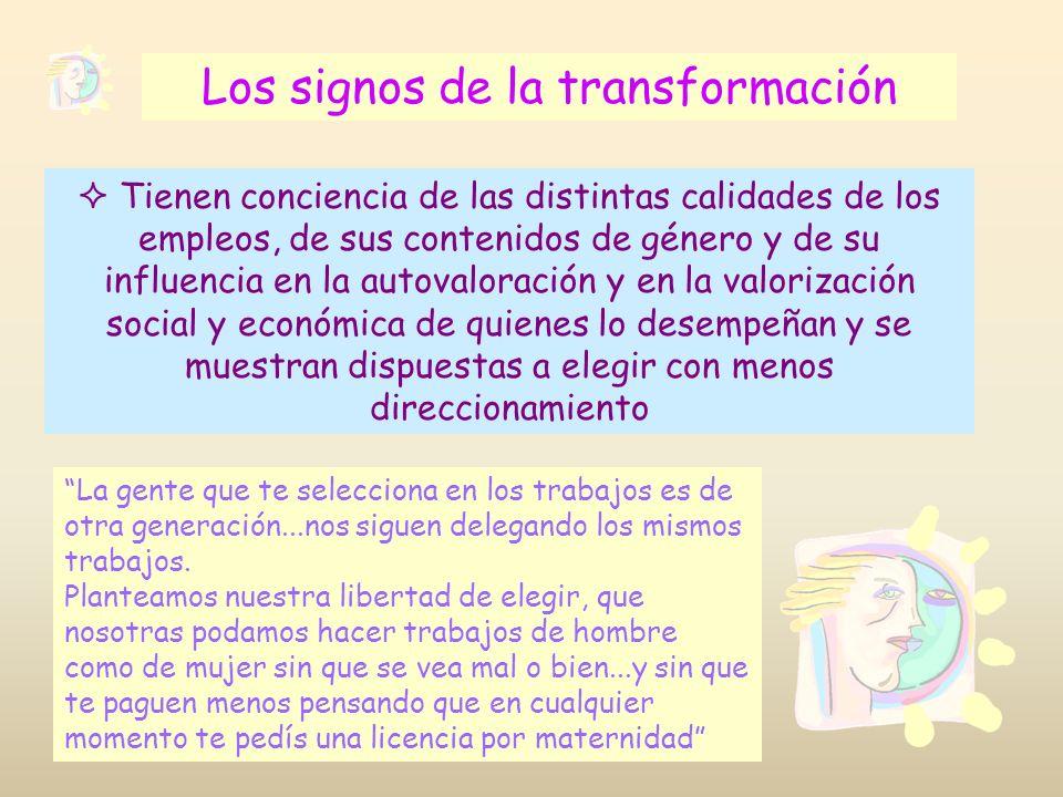 Los signos de la transformación Tienen conciencia de las distintas calidades de los empleos, de sus contenidos de género y de su influencia en la auto