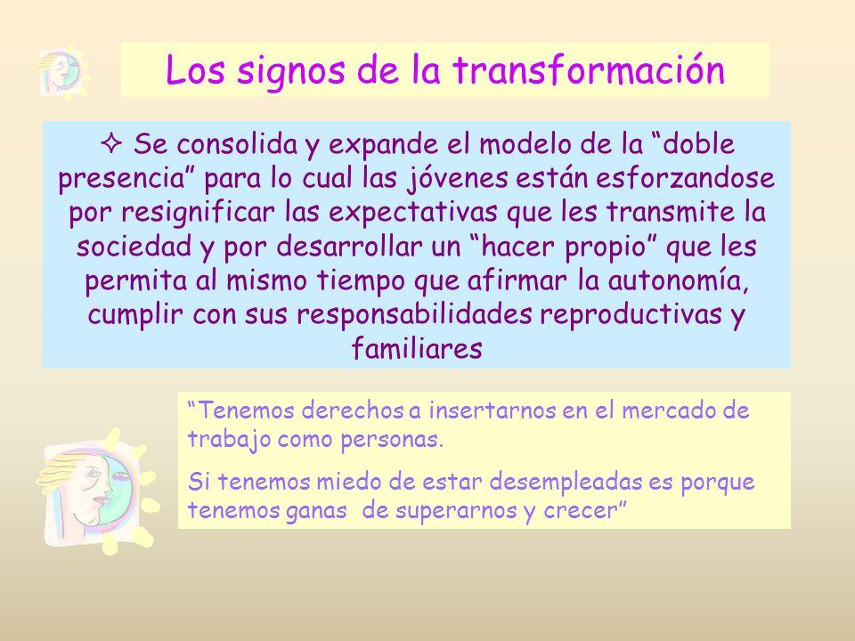 Los signos de la transformación Se consolida y expande el modelo de la doble presencia para lo cual las jóvenes están esforzandose por resignificar la