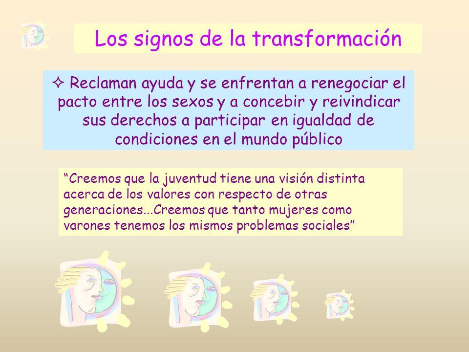 Los signos de la transformación Reclaman ayuda y se enfrentan a renegociar el pacto entre los sexos y a concebir y reivindicar sus derechos a particip