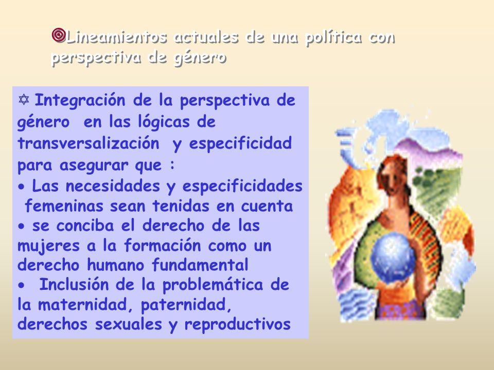 Integración de la perspectiva de género en las lógicas de transversalización y especificidad para asegurar que : Las necesidades y especificidades fem