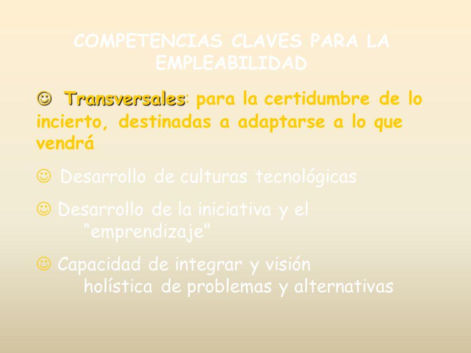 COMPETENCIAS CLAVES PARA LA EMPLEABILIDAD Transversales Transversales: para la certidumbre de lo incierto, destinadas a adaptarse a lo que vendrá J De