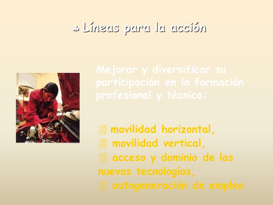 Líneas para la acción Líneas para la acción Mejorar y diversificar su participación en la formación profesional y técnica: movilidad horizontal, 4 mov
