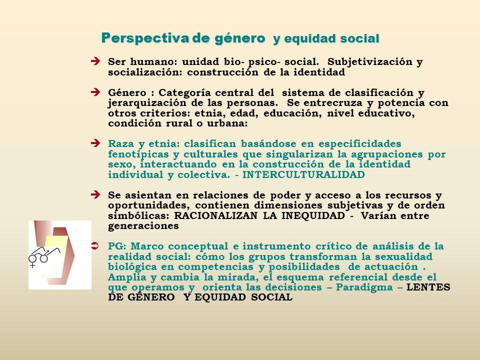 Perspectiva de género y equidad social Ser humano: unidad bio- psico- social. Subjetivización y socialización: construcción de la identidad Género : C