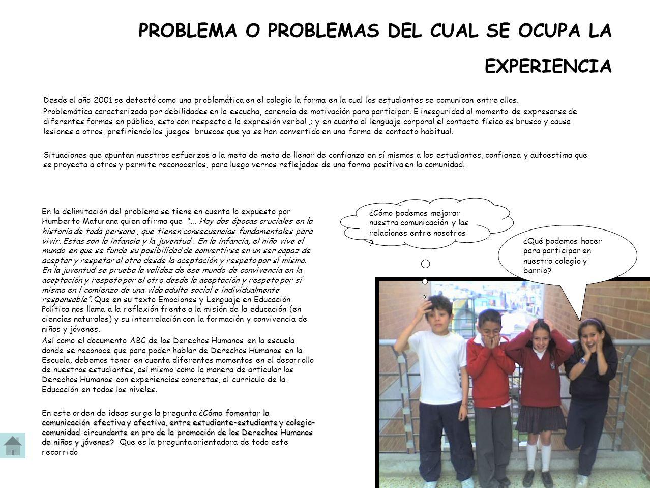 PROBLEMA O PROBLEMAS DEL CUAL SE OCUPA LA EXPERIENCIA Desde el año 2001 se detectó como una problemática en el colegio la forma en la cual los estudiantes se comunican entre ellos.