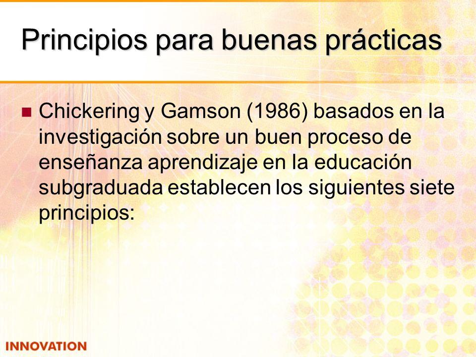 Principios para buenas prácticas Chickering y Gamson (1986) basados en la investigación sobre un buen proceso de enseñanza aprendizaje en la educación subgraduada establecen los siguientes siete principios: