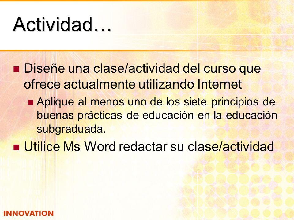 Actividad… Diseñe una clase/actividad del curso que ofrece actualmente utilizando Internet Aplique al menos uno de los siete principios de buenas prácticas de educación en la educación subgraduada.