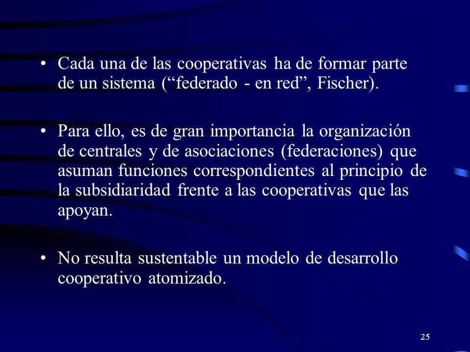 24 Las cooperativas contribuyen esencialmente al desarrollo de un país, porque se basan en la iniciativa local y en el desarrollo del potencial económico; precisamente el fortalecimiento de la economía local y la interconexión institucional con la economía nacional representan una función de las cooperativas.