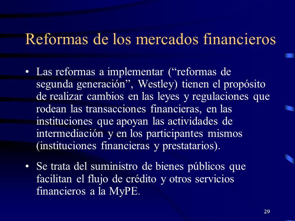 28 Existe gran cantidad de pruebas que acreditan que las microempresas no reciben crédito suficiente de las instituciones financieras.