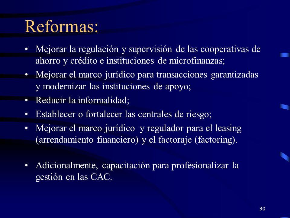 29 Reformas de los mercados financieros Las reformas a implementar (reformas de segunda generación, Westley) tienen el propósito de realizar cambios en las leyes y regulaciones que rodean las transacciones financieras, en las instituciones que apoyan las actividades de intermediación y en los participantes mismos (instituciones financieras y prestatarios).