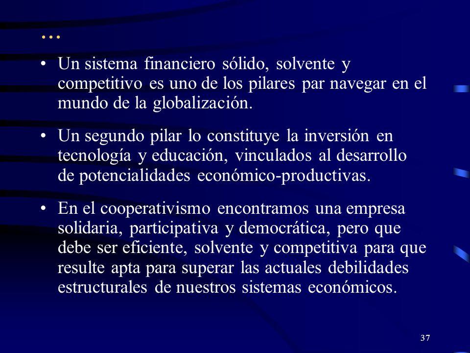 36 Para concluir: El acceso a servicios financieros a través de instituciones formales, en igualdad de condiciones, constituye hoy uno de los principales derechos humanos con que debe contar la población para superar los actuales niveles de subdesarrollo.