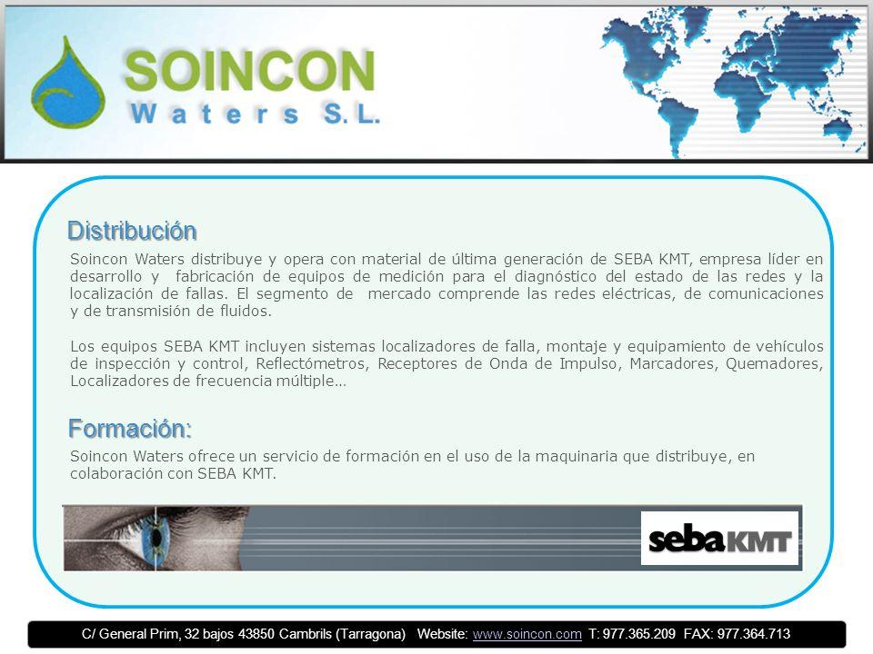Distribución Soincon Waters distribuye y opera con material de última generación de SEBA KMT, empresa líder en desarrollo y fabricación de equipos de medición para el diagnóstico del estado de las redes y la localización de fallas.