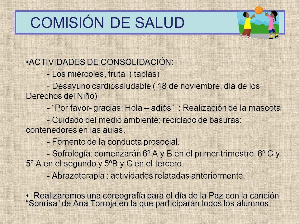COMISIÓN DE SALUD ACTIVIDADES DE CONSOLIDACIÓN:ACTIVIDADES DE CONSOLIDACIÓN: - Los miércoles, fruta ( tablas) - Desayuno cardiosaludable ( 18 de novie