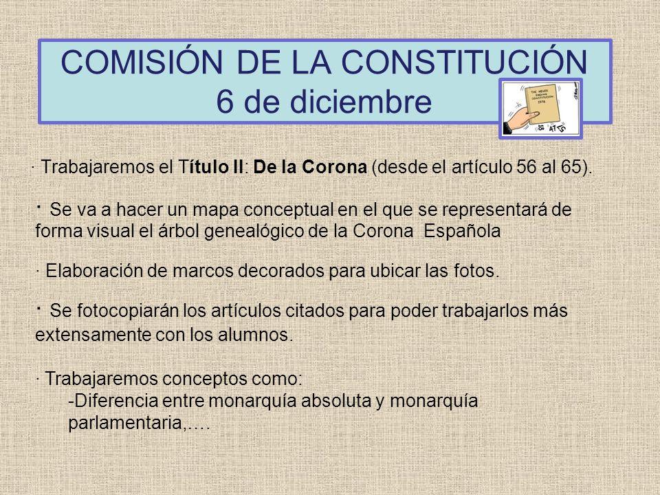 COMISIÓN DE LA CONSTITUCIÓN 6 de diciembre · Trabajaremos el Título II: De la Corona (desde el artículo 56 al 65). · Se va a hacer un mapa conceptual