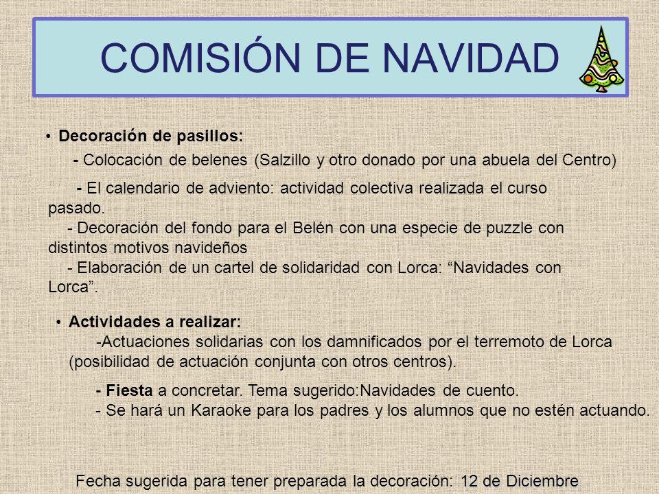 COMISIÓN DE NAVIDAD Decoración de pasillos: - Colocación de belenes (Salzillo y otro donado por una abuela del Centro) 12 de Diciembre Fecha sugerida