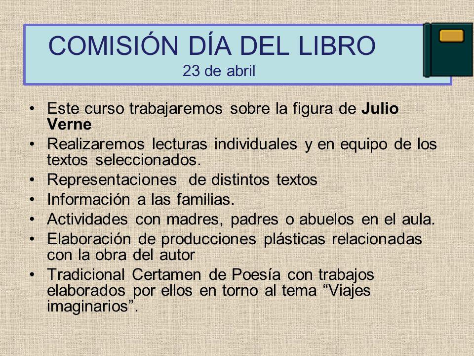 COMISIÓN DÍA DEL LIBRO 23 de abril Este curso trabajaremos sobre la figura de Julio Verne Realizaremos lecturas individuales y en equipo de los textos