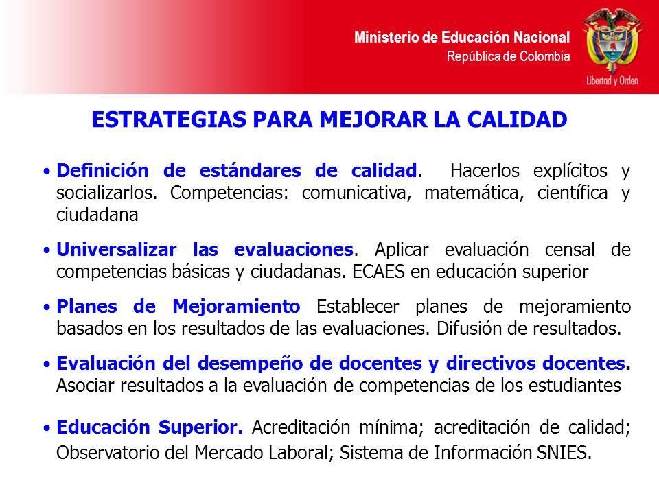 Ministerio de Educación Nacional República de Colombia Definición de estándares de calidad. Hacerlos explícitos y socializarlos. Competencias: comunic